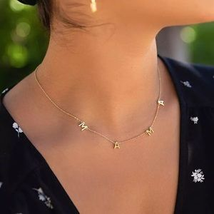 Mama Monogram Layering Necklace - Silver
